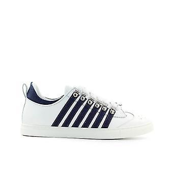 Dsquared2 منخفض وحيد الأبيض الدنيم حذاء رياضي