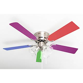 Ceiling fan Kisa Multicolor / Brushed Nickel with lights
