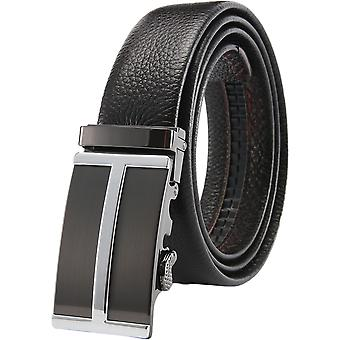 Yunyun Men's Automatic Buckle Black Leather Belt