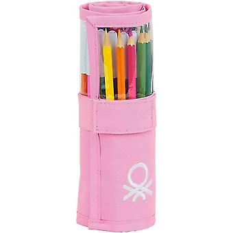 Pencil Case Benetton Blooming Roll-up Pink (27 Pieces)