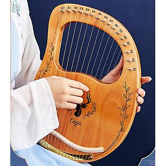 19 cordes Lyre Harp Wooden Mahogany Instrument de musique Lyre Harp With Tuning Wrench Strings