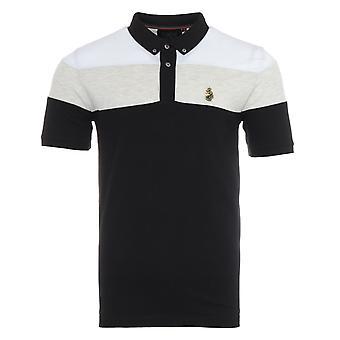 Luke 1977 Sharkey 3 Contrast Chest Panel Polo Shirt - Black