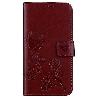 Leather case Flower pattern for Samsung Galaxy A8 2018 - Brown