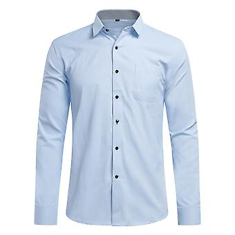 Yunyun Men's Business Lapel Solid Color Slim-fit Plain Weave Long-sleeved Shirt With Pocket
