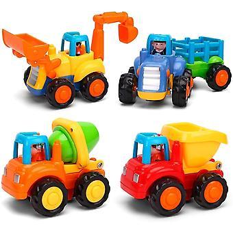 GoStock BabySachen Spielzeugauto Baufahrzeuge 4 im Set fr Kinder ab 1 2 3 Jahre,