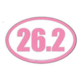 مغناطيس، بيضاوي، 26.2 ماراثون (وردي، أبيض)، 6.5 بوصة × 4.25 بوصة