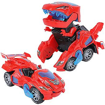 Transformer dinosaur led car with light and music, Dinosaur Toys For Kids 3-5-7,(rouge)