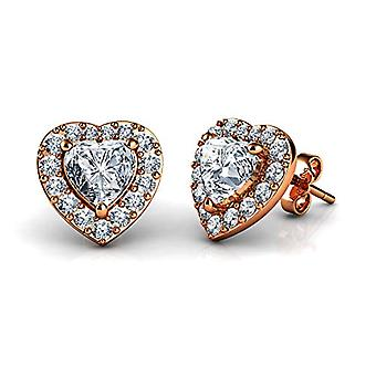 DEPHINI - Sterling 925 gold earrings gold plated gold, refined jewelry in the shape of a heart for women gift Ref. 5060565242678