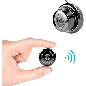 Mini HD spy camera - Small WiFi camera - Night vision - Motion detection alarm - Low power consumption - Compatible with cellphones, computers, tablets (black)