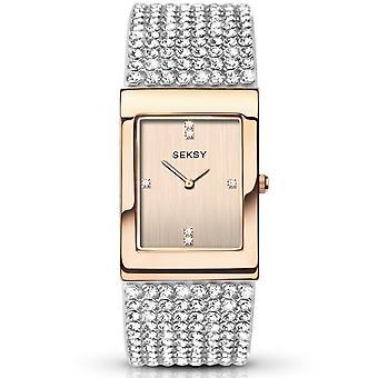 Seksy 2376 Krystal Stone Set Rose Gold & Silver Stainless Steel Ladies Watch