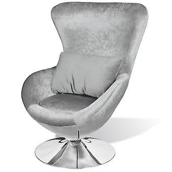vidaXL fauteuil in eivorm zilver