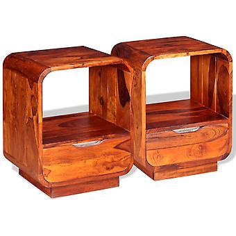 vidaXL nachtkastje met lade 2 st. massief hout 40x30x50 cm