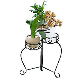 Black  multilayer retro folding flower pot stand vase rack 36x36x56.5cm homi4398