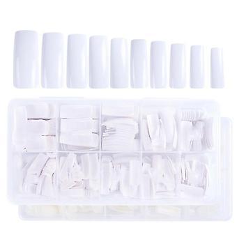 500 Stück weiß / natürlich / transparente Nagelstücke falsche Nägel (Weiß)
