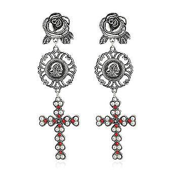 Bohemian Gold Plated Rose Flower Cross Gold Earring Drop Long Dangle Earrings f