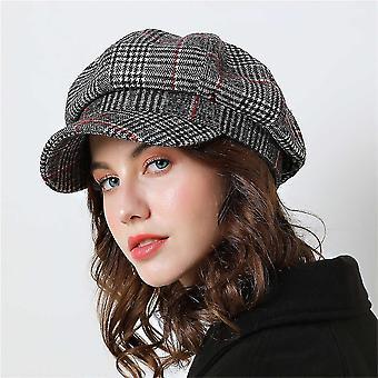 Herbst/Winter - lässige Baumwolle, karierte Vintage, achteckige Kappen