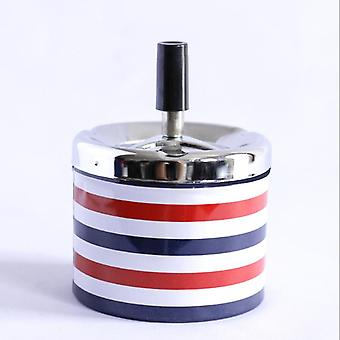 Ashtray With Spinning Tray Stainless Steel Round Push Down Cigarette Windproof Ashtray Home Office