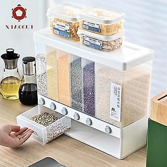 Separate Rice Bucket Japanese Mounted Grain Divide Multifunctional Cereals Bottles,Jars & Boxes