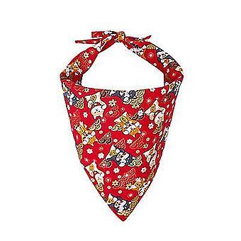 एस लाल कुत्ता बंदनाक्लासिक प्लेड स्नोफ्लेक पालतू त्रिकोण bibs दुपट्टा सामान x2582
