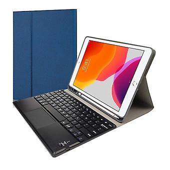 Qwert Bluetooth Tangentbord hölster för iPad 10.2 Air 10.5 Pro10.5 Trådlösa läder tangentbord (blå)
