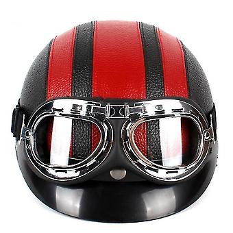 Harley Pu Helmet With Goggles And Sunshade For Unisex Riding(Red)