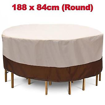Evago Waterproof Round Patio Furniture Covers Outdoor Table Chair Set Covers, Anti-fading Cover For Outdoor Furniture Set, Uv Resistant, Beige & Brown