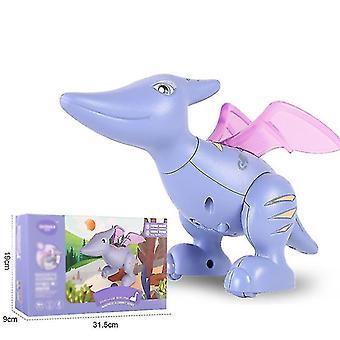 Dinozaur Jucării magnetice blocuri de constructii pentru copii Boys Girls, touch înregistrare Talking (Purple)