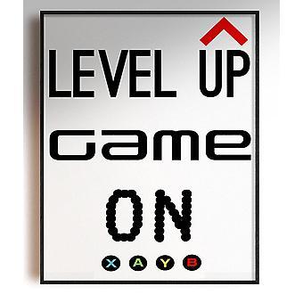 GnG Gaming A4 Word Sitat Innrammede Plakater For Barn Soverom Kunstverk Nivå Opp XB