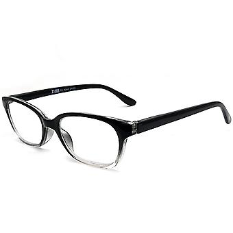 Storm Unisex Leightweight Black to Clear soft Rectangular Comfortable Spring Hinge +2 Power Glasses