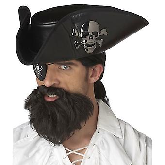 The Captain Pirate Carribbean Black Mens Costume Beard & Moustache Set