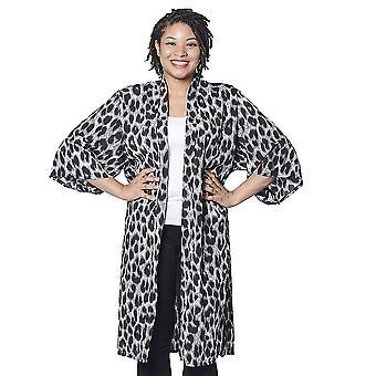 Schwarz und weiß Leopard Muster Duster lange Kimono freie Größe