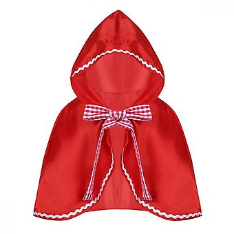 Children's Little Red Riding Hood Half Cape Christmas Halloween Role-playing Hooded Cape, Polyester Material S-m