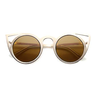 Mujeres de moda ronda Metal corte espejo Flash lente gato ojo gafas de sol