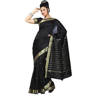 Arte nera seta Saree Sari del tessuto bordo dorato India