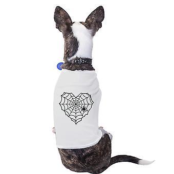 Herz Spider Web weißes kleines Haustier Shirt Halloween-Kostüme für Haustiere