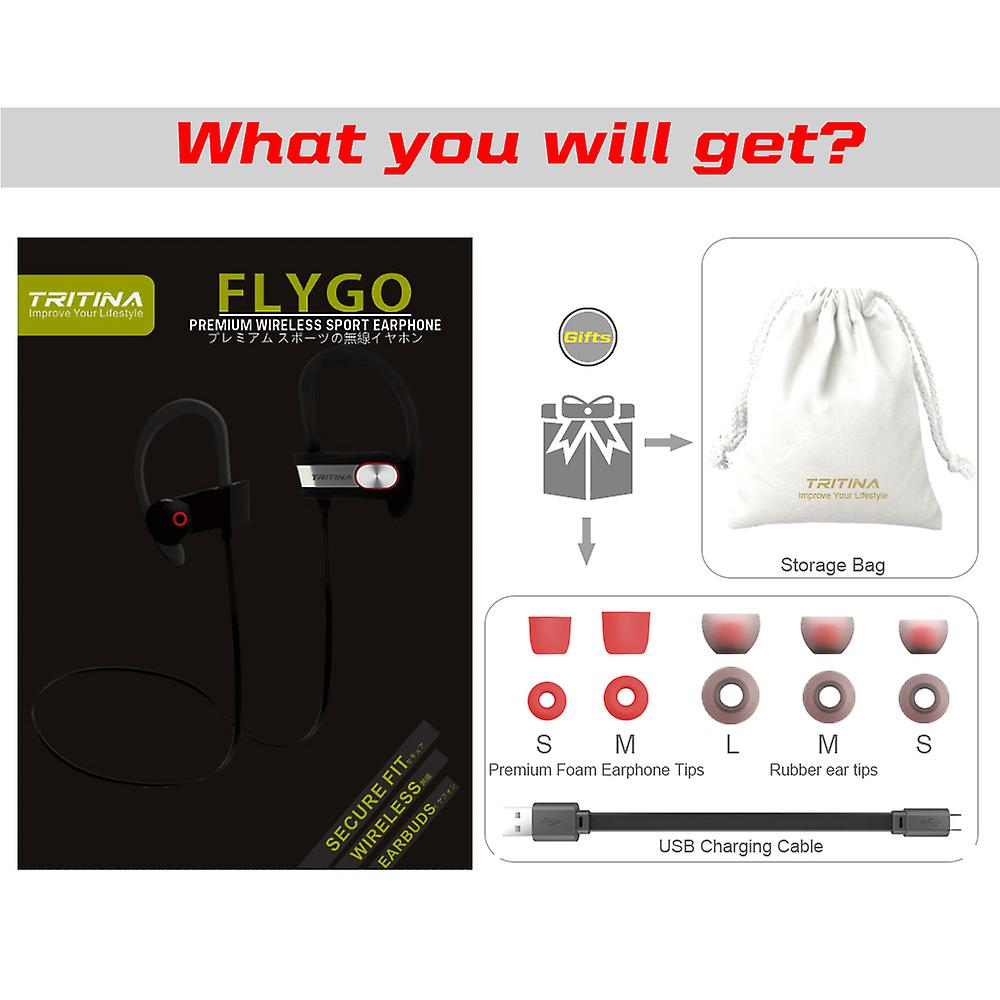 Tritina Sports Bluetooth Earphone Built-in Microphone,Sweetproof wireless Headphone with Memory Form Earbuds Stereo Sound for Running,Jogging