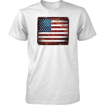 Vereinigte Staaten Grunge Grunge Effekt Flag - Stars & Stripes - Herren T Shirt