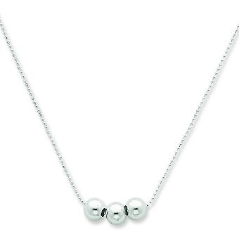 925 Sterling Silver Spring Ring Polished 3 Bead Necklace  Jewelry Gifts for Women - Length: 18 to 24
