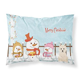 Merry Christmas Carolers Westie Fabric Standard Pillowcase