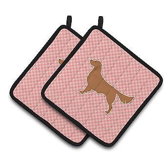 Golden Retriever Checkerboard Pink Pair of Pot Holders