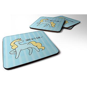 Set of 4 Nursery Dream Big Unicorn Foam Coasters Set of 4