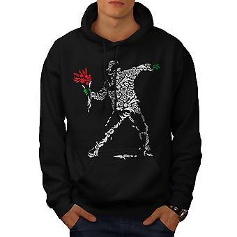 Human Flower Art Fantasy Men BlackHoodie | Wellcoda