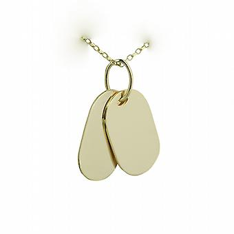 Two 9ct Gold 29x17mm plain rectangular ID Tags with belcher Chain 24 inches