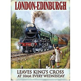 London To Edinburgh Vintage Train Wall Sign