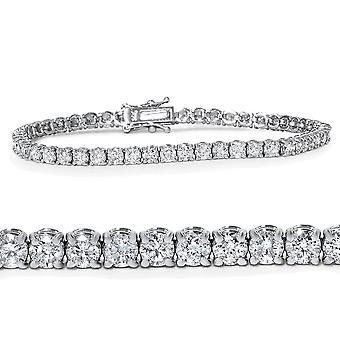 "4ct Diamond Tennis armbånd 14K hvitt gull 7"""