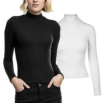 Señoras urbano clásicos - camisa de manga larga de cuello alto manga larga