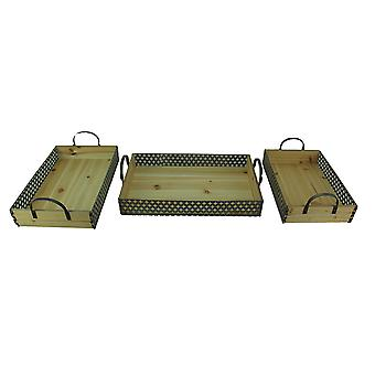 Set of 3 Rustic Metal And Wood Decorative Trays