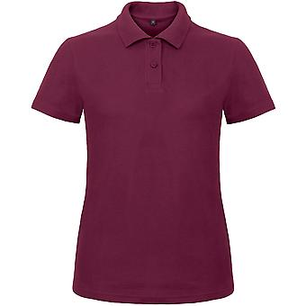 B&C Collection Ladies Id.001 Short Sleeve Polo Shirt Wine