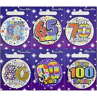 Simon Elvin Small Happy Birthday Badges (Pack of 6)