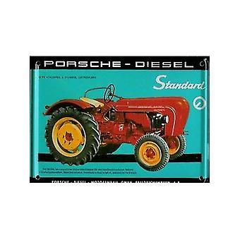 Porsche Tractor metalen briefkaart / mini teken